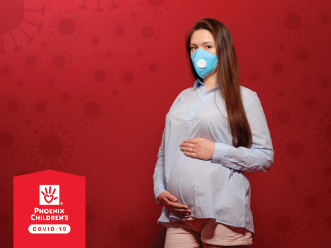 pregnant with mask on